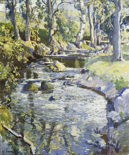 The Midday Sun, Highland Burn,  (oil on canvas)