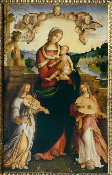Virgin with Child and two musician angels