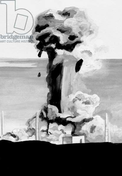Nuclear power plant accident,2014,(Acrylic paint on paper)
