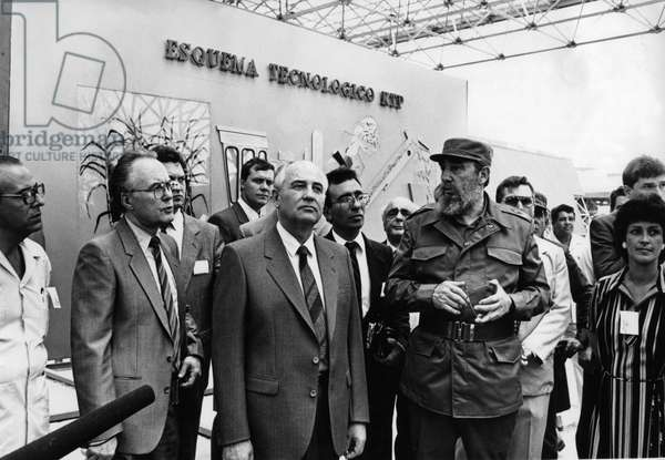 Fidel Castro, Head of the Communist Party of Cuba (Right) with Mikhail Gorbachev, General Secretary of the Cpsu (Center) at Expo-Cuba Exhibition, April 1989, Havana, Cuba, State Visit by M, Gorbachev to Cuba.