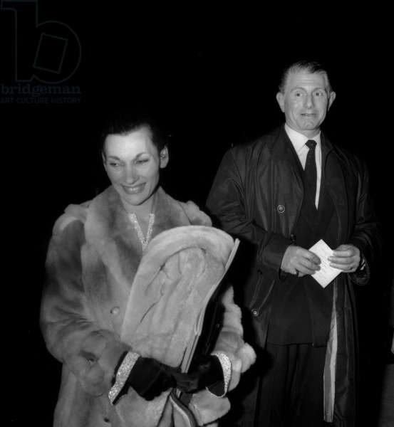 Francoise Gilot (Pablopicasso'S Former Companion) With Paulo Picasso (Son of Pablopicasso and Olgakhokhlova) during Gala in Tribute To Picasso in Paris December 1St, 1966 (b/w photo)