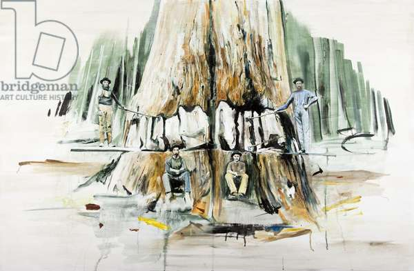 Tree Felling, 2013, 2013, (oil on board)