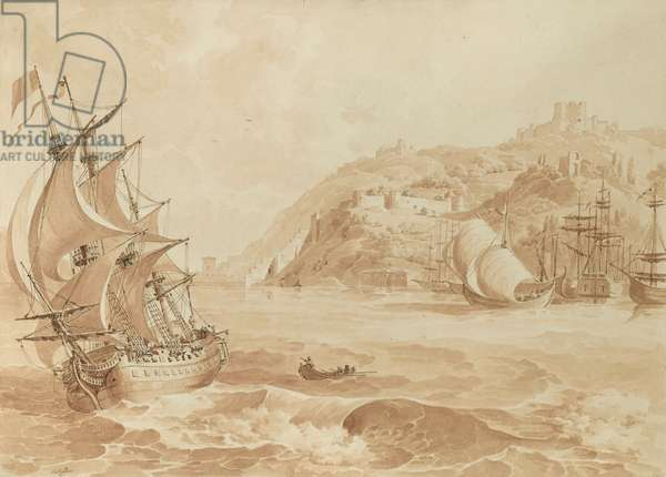 A castle on the Bosphorus, 1816 (pencil & wash on paper)