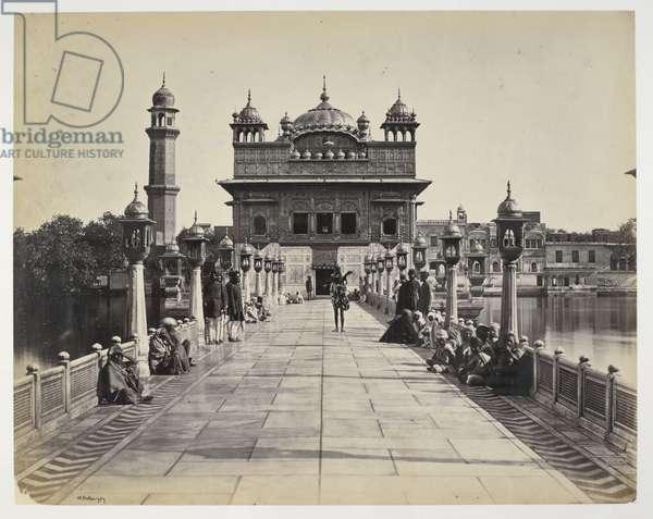 Entrance to Sikh Temple, Amritsar, 1870 (b/w photo)