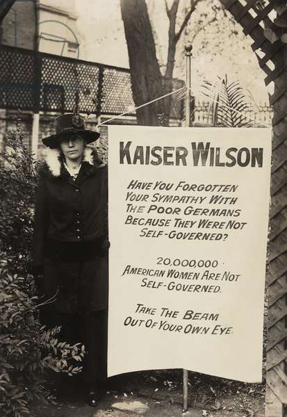 Militant suffragist of the National Women's Party, Virginia Arnold, scandalized many by comparing President Wilson with the German ruler during the First World War. 1917