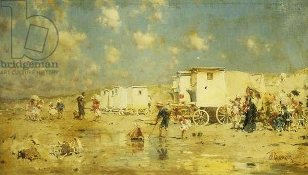 The Beach at Scheveningen, Holland, (oil on canvas)