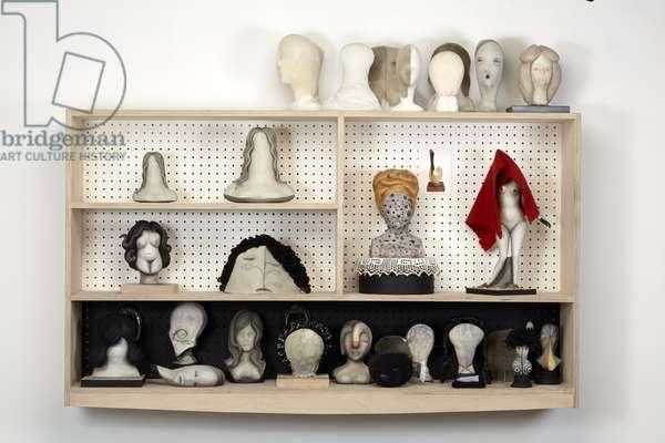 Head Case, 2016 (plaster, wood, leather, blanket, felt-tip, oil paint, fabric, mirrors, pegboard, MDF)