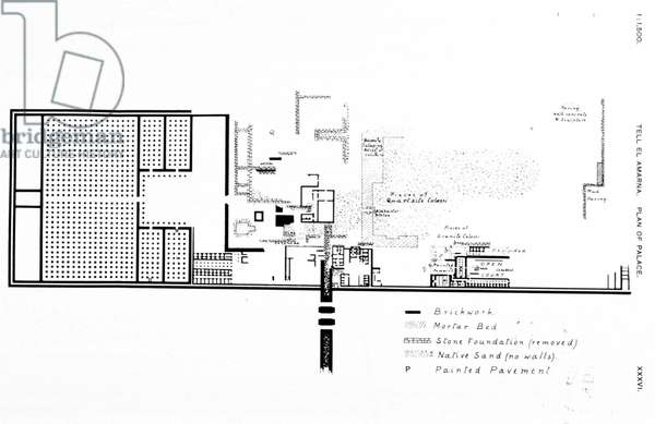drawing of the Tell El Amarna palace by Howard Carter c.1891-1892