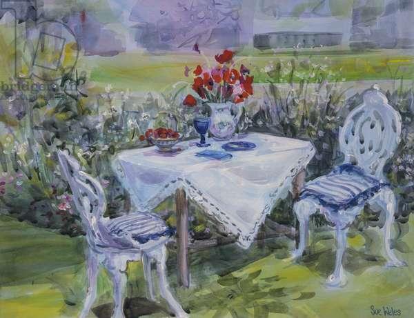 Poppies & white cloth, 1997, (gouache on card)