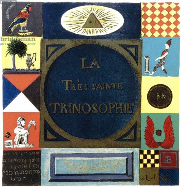 Title page of La Tres Sainte Trinosophie. 18th century cabbalistic-alchemical manuscript attributed to Comte de Sainte-Germain, showing symbols summarising Hermetism
