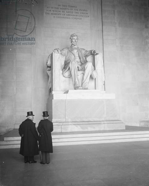 Georges Clemenceau and Jean Jules Jusserand at Lincoln Memorial, Washington DC, USA, December 5, 1922 (b/w photo)