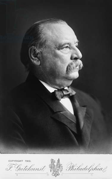 Grover Cleveland (1837-1908), 22nd and 24th President of the United States 1885–89 and 1893–97, Head and Shoulders Profile Portrait, 1903 (b/w photo)