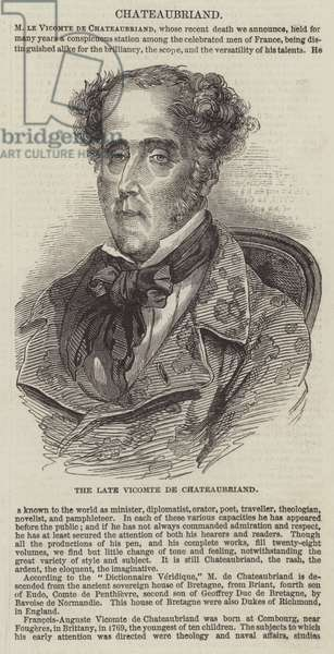 The late Vicomte de Chateaubriand (engraving)