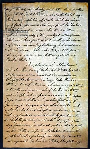 EMANCIPATION PROC., P. 2 Abraham Lincoln's holograph manuscript, 1863.