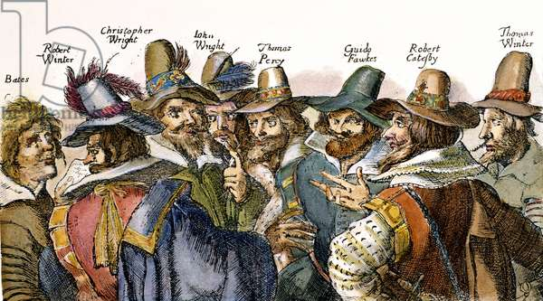 GUY FAWKES (1570-1606) Fawkes (third from right) and the 'Gunpowder Plot' conspirators. Etching, 1605.