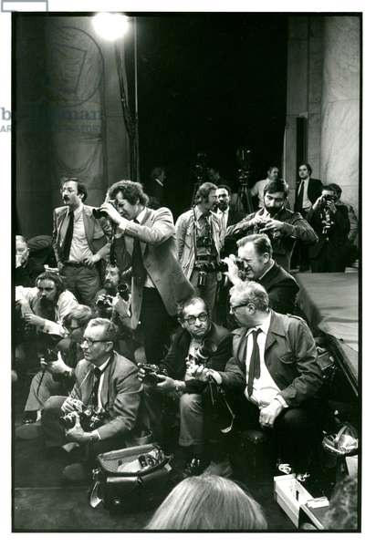 The photographic press corps in the Senate Caucus Room during the Watergate hearings, May 23, 1973 (b/w photo)