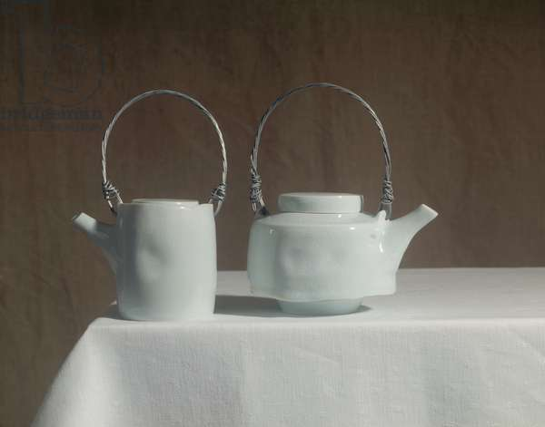 Blue White Teapot and Small Upright Teapot, 1996 (limoges porcelain, celadon glaze & wire handle)