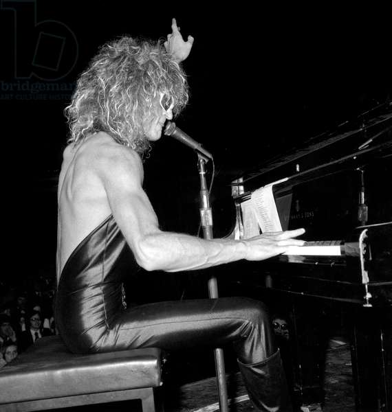 French Singer Michel Polnareff on Stage at The Olympia March 28, 1973 (b/w photo)