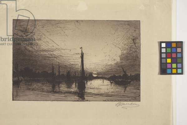 Sunset On The Rhine Near Cologne (etching)