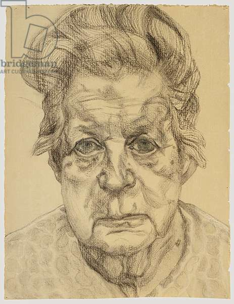 The Painter's Mother, 1983 (charcoal & pastel on buff paper)