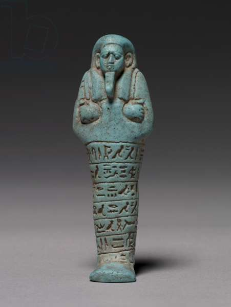Shawabty of Ankh-Hor, 595-586 BC (pale turquoise with vitreous Egyptian blue)