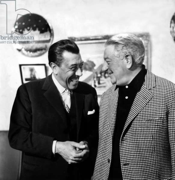 French Actors Fernandel and Jean Gabin on the set of 'That Tender Age' on October 07, 1964 (b/w photo)