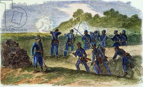 BLACK UNION TROOPS, 1864 Union Army black soldiers in the trenches during the American Civil War: coloured  engraving, 1864.