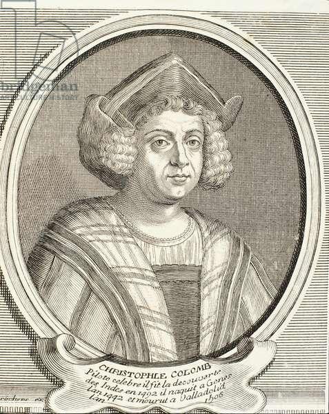 Portrait of Christopher Columbus (1451-1506), Italian explorer and navigator, engraving