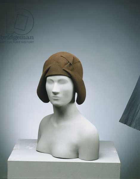 Woman's Cloche Hat, c.1927 (brown wool felt)