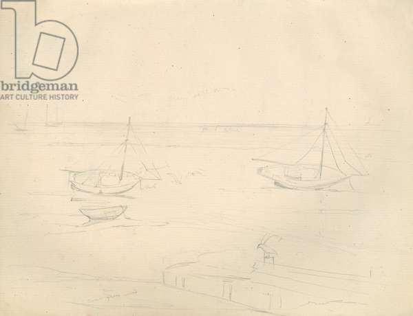 Pencil sketch of boats on the sea