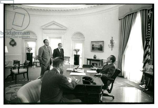 President Nixon with John Ehrlichman, Henry Kissinger and H.R. Haldeman in the Oval Office, 10th February 1971 (b/w photo)