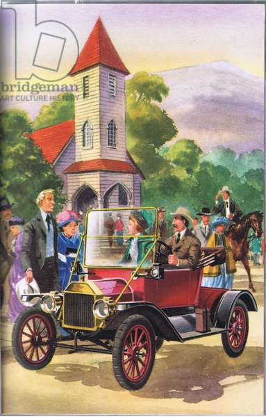 A famous Ford the Model T (colour litho)