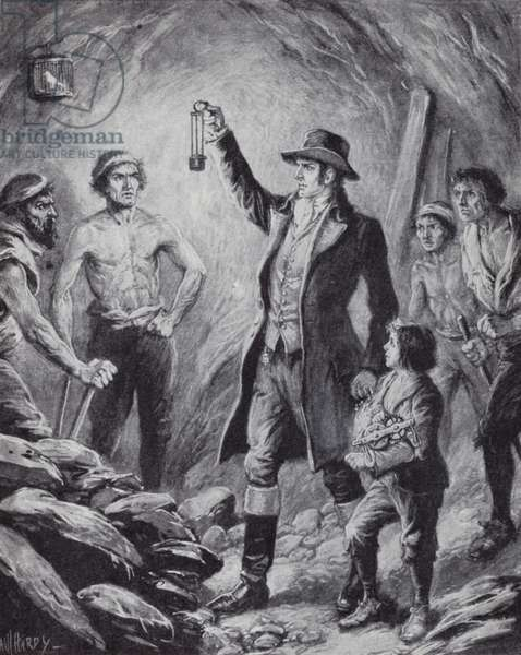 Sir Humphrey Davy and his invention of the first safety lamp for miners, 1815 (litho)