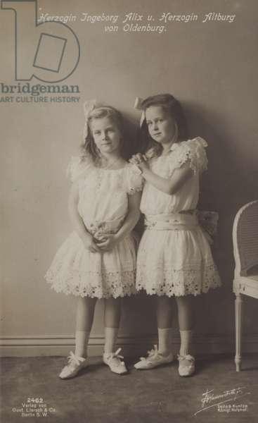 The Duchesses Ingeborg Alix and Altburg of Oldenburg (b/w photo)