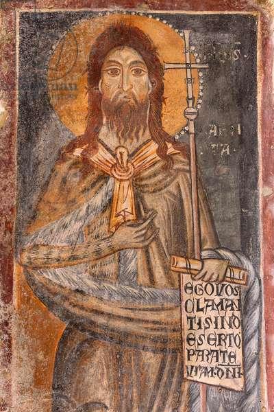 San Giovanni Battista, fresco in the Rock Church of Santa Lucia alle Malve, Matera, Basilicata, Italy.