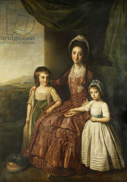 A Group Portrait of Mary, Countess of Darnley and Her Children, Lord Clifton and Lady Mary Bligh, All Full Length, (oil on canvas)