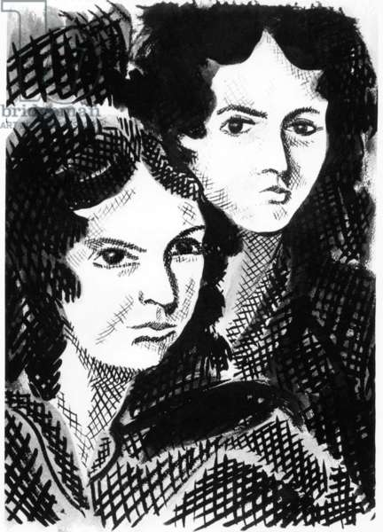 Sisters and English writers Charlotte Bronte (1816-1855) and Emily Bronte (1818-1848) drawing by M. Crepy
