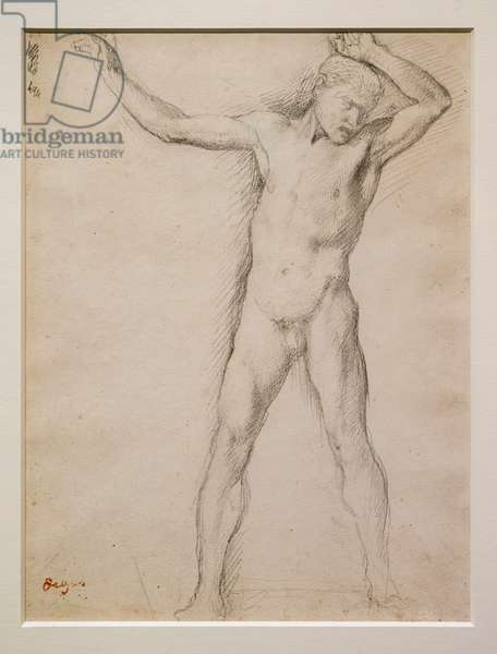 Naked face, arms raised, circa 1859-1861. Graphite on velin paper.