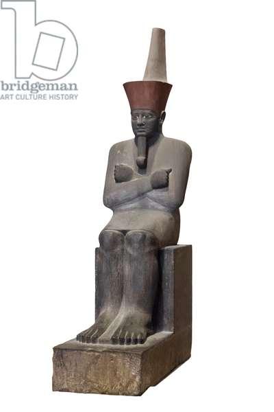 Statue of Mentuhotep Nebheptre, 11th dynasty, from Deir el Bahari, sandstone, Egyptian Museum, Cairo, Egypt