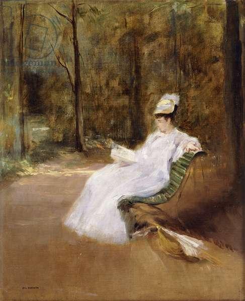 Sitting on a Bench; Sur le Banc, c.1848 (oil on canvas)