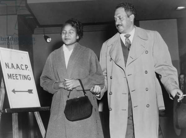 Thurgood Marshall, the Chief Counsel for the NAACP with Rosa Parks in 1956. Parks joined the Montgomery, Alabama chapter of the NAACP in 1943 and was the chapter's secretary in 1956