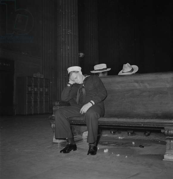 Sailor Asleep in Waiting Room, Union Station, Chicago, Illinois, USA, January 1943