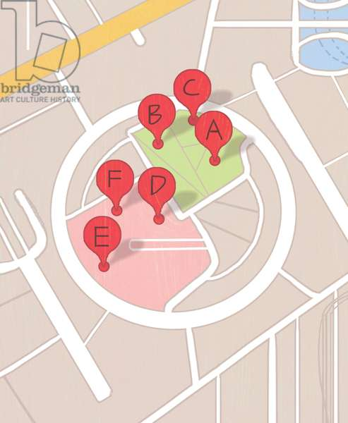 Restaurant map, 2014, (mixed media)