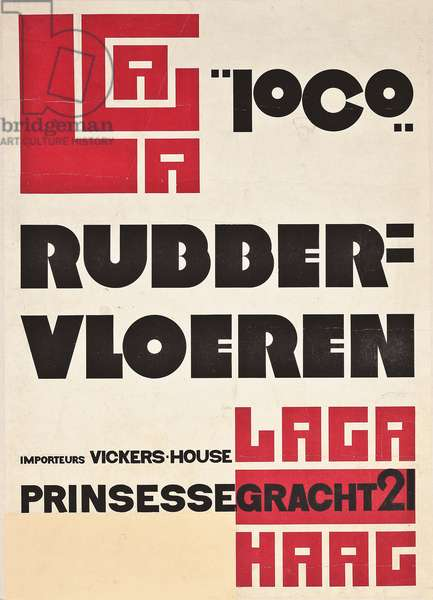 Poster advertising rubber floors, c. 1922 (linocut and letterpress in colours)