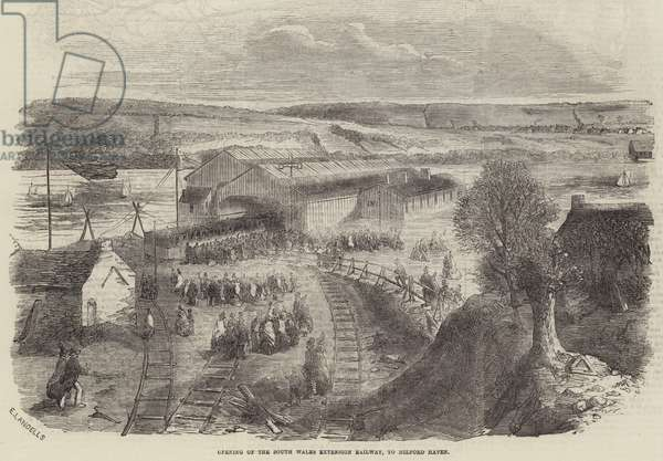 Opening of the South Wales Extension Railway, to Milford Haven (engraving)
