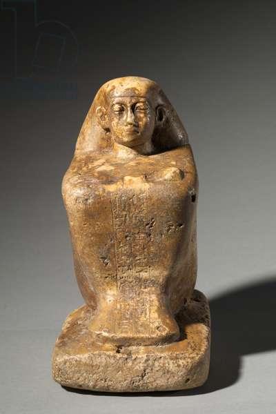 Block Statue of Djedbastetiufankh, Late 25th to Early 26th Dynasty, c.664-610 BC (limestone)