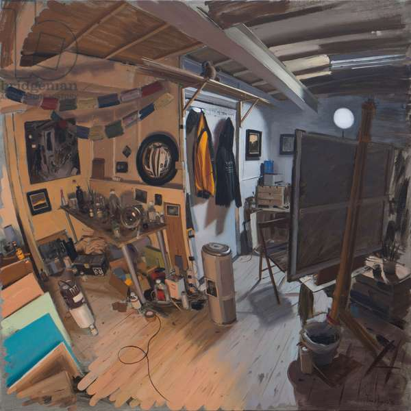 Studio interior with warm and cool light