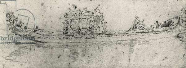 Gondola reserved for ambassadors, by Francesco Guardi (1712-1793), drawing.