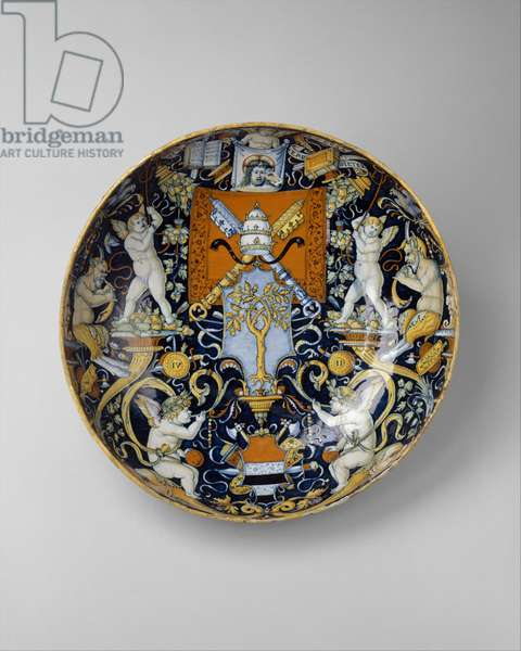 Bowl with the Arms of Pope Julius II and the Manzoli of Bologna surrounded by putti, cornucopiae, satyrs, dolphins and birds, 1508 (maiolica)