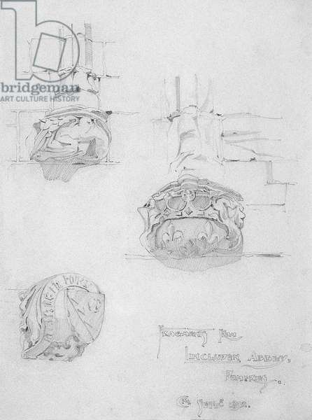 Fragments from Lincluden Abbey, Dumfries, 1892 (pencil on paper)